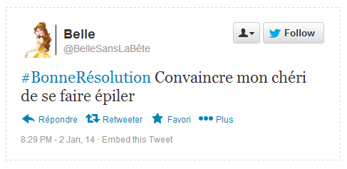Tweet Résolution Belle