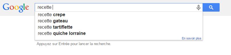 recette sur google