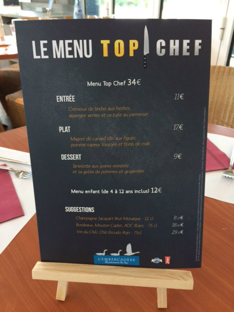 Menu top Chef restaurant Center Parcs
