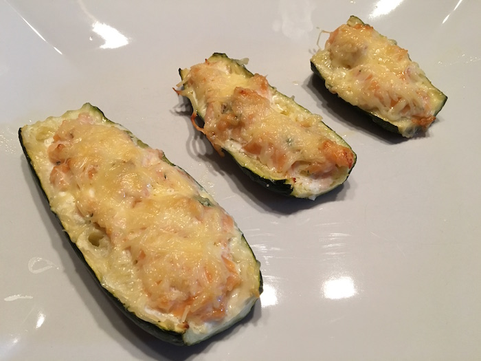 Courgettes farcies au saumon