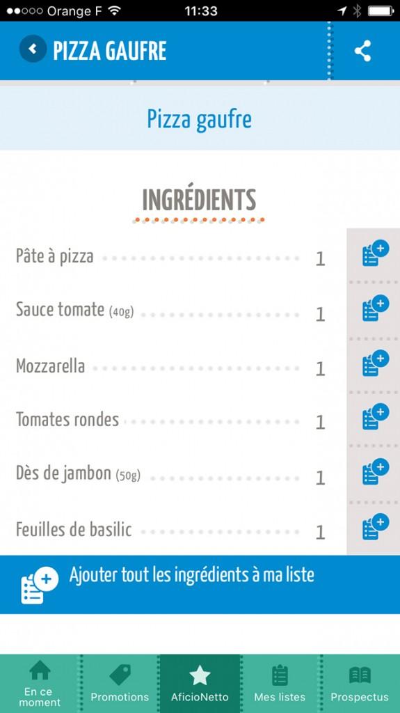 Netto Appli Ingrédients recettes