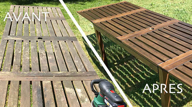 Avant apres renovation table jardin