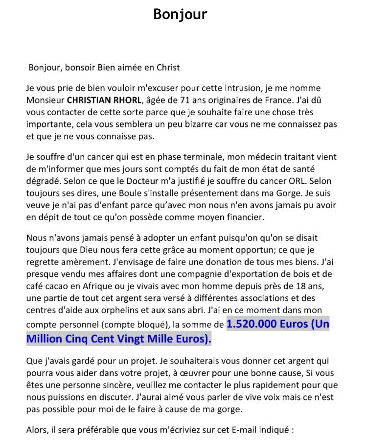 Arnaque Christian Rhorl